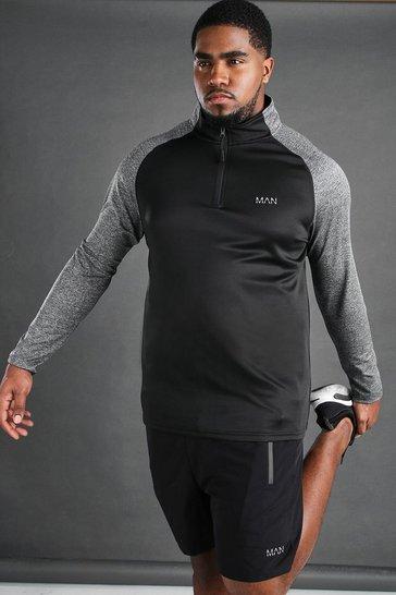 Black Plus Size MAN Active Raglan Top