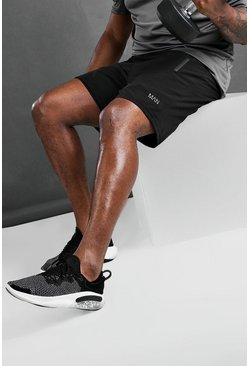 Black Plus Size MAN Active Shorts