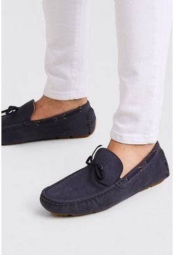 Navy Faux Nubuck Driving Shoe