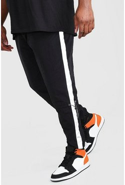 Black Plus Size Reflective Panel Shell Joggers