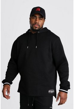 Black Big And Tall Split Hem Varsity Hoodie