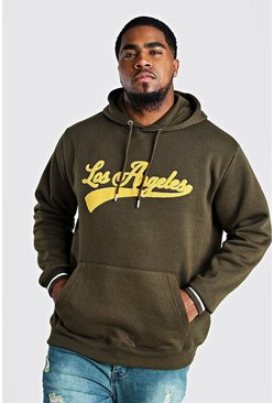 Sudadera con capucha estilo universitario Big And Tall, Caqui