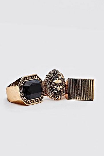 Gold metallic 3 Pack Ring Set