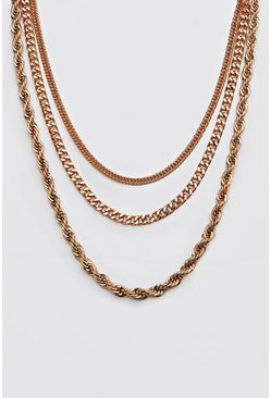 Gold Plain 3 Layer Necklace