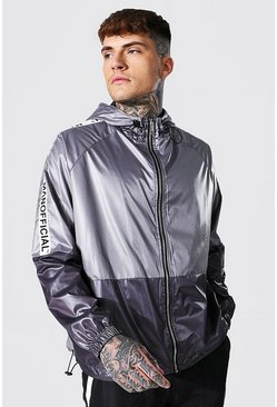 Grey Oversized Highshine Colourblock Cagoule With Tape