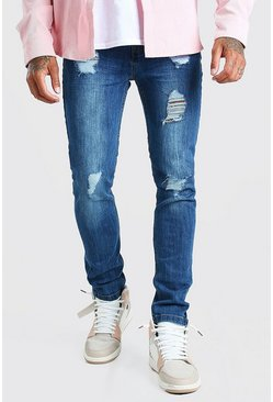 Mid blue blue Super Skinny Jeans With Heavy Distressing