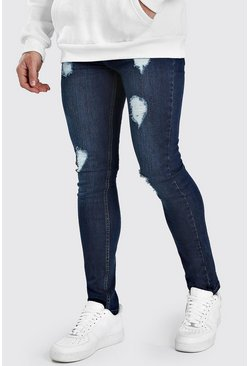 Indigo blue Super Skinny Jeans With Heavy Distressing