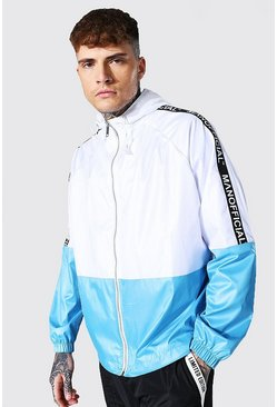 Oversized Highsine Colourblock Cagoule With Tape , Teal Серый