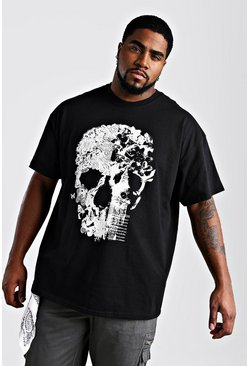 Black Plus Size Floral Skull Graphic T-Shirt