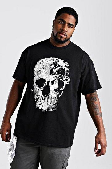 Black Plus Size Floral Skull Print T-Shirt