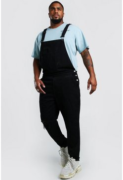 Black Plus Size Dungaree With Busted Knee