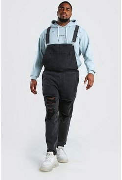 Charcoal Plus Size Dungaree With Distressing