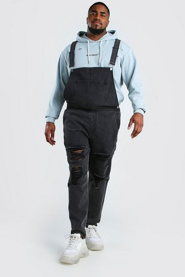 Charcoal grey Big And Tall Dungaree With Distressing