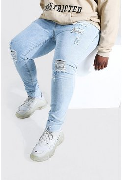 Pale blue blue Plus Size Raw Hem Skinny Jean