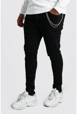 Black Plus Size Super Skinny Jean With Chain