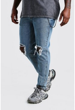 Pale blue blue Plus Size Rigid Skinny Jean With Chain