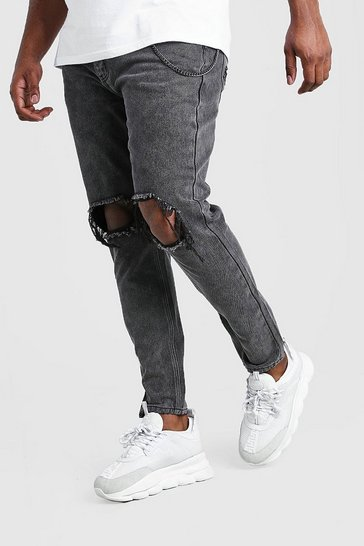 Charcoal grey Plus Size Rigid Skinny Jean With Chain