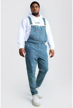 Mid wash blue Plus Size Slim Denim Dungarees