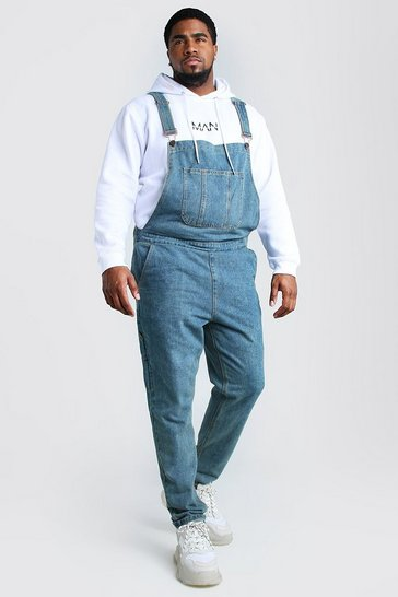 Mid wash blue Big And Tall Slim Denim Dungarees