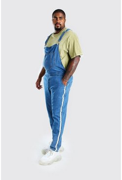Mid blue blue Plus Size Side Tape Dungaree