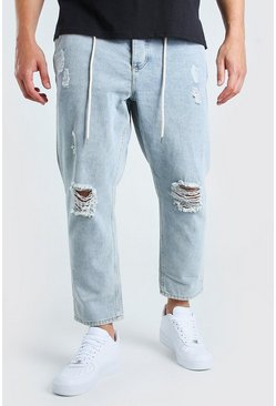 Pale blue Big And Tall Busted Knee Skinny Fit Jean