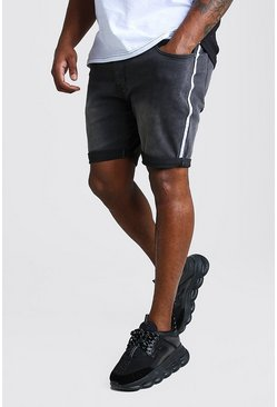 Charcoal Plus Size Skinny Denim Short With Side Tape