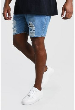 Mid blue Plus Size Slim Distressed Denim Short