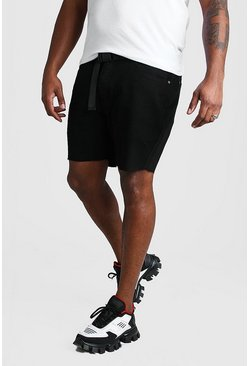 Shorts denim slim con cinturón Big And Tall, Negro