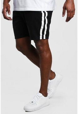 Washed black Plus Size Slim Denim Short With Stripe