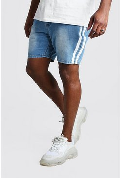 Light wash blue Plus Size Slim Denim Short With Stripe
