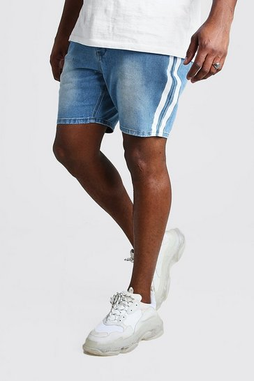 Light wash blue Big And Tall Slim Denim Short With Stripe