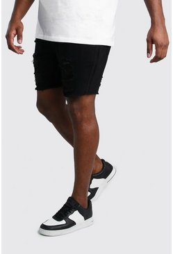 Black Plus Size Slim Denim Short With Distressing