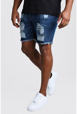 Dark blue blue Plus Size Slim Denim Short With Distressing