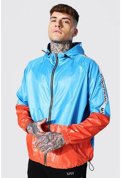 Oversized Highshine Colourblock Cagoule With Tape , Orange Оранжевый