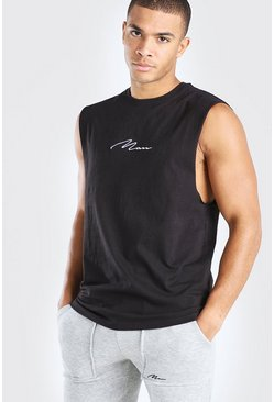 Black MAN Signature Drop Armhole Tank