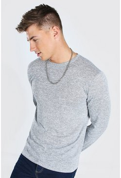 Grey marl grey Knitted Crew Neck Jumper