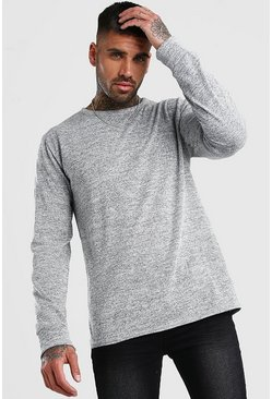Grey Knitted Crew Neck Sweater