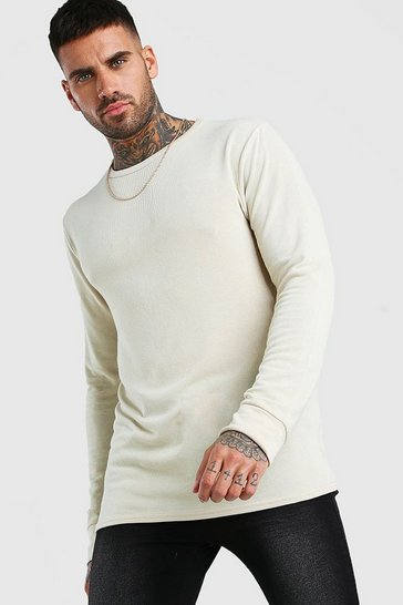 Ecru white Knitted Crew Neck Jumper