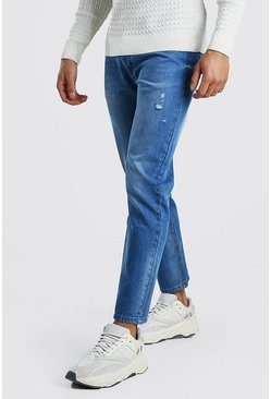 Mid blue blue Slim Fit Jeans With Distressing