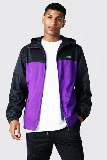 Purple Man Dash Contrast Panel Colour Block Cagoule
