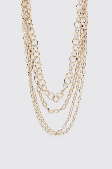 Gold metallic Multi Layer Chain Necklace