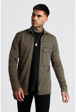 Tan brown Dogtooth Jacquard Zip Through Overshirt