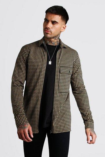 Tan brown Dogtooth Jacquard Zip Through Overshirt