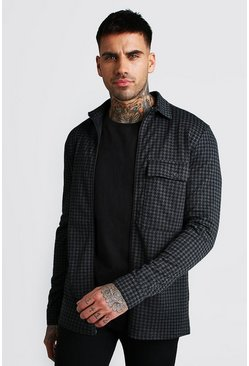 Charcoal grey Dogtooth Jacquard Zip Through Overshirt