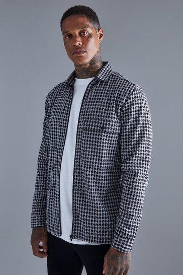 Charcoal grey Dogtooth Jacquard Zip Through Overshirt