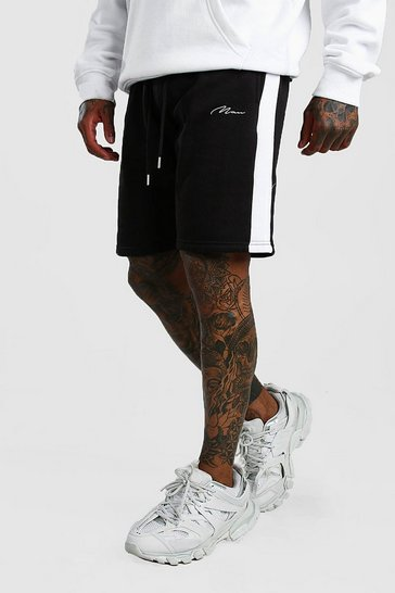 Black MAN Signature Jersey Short with Side Panel