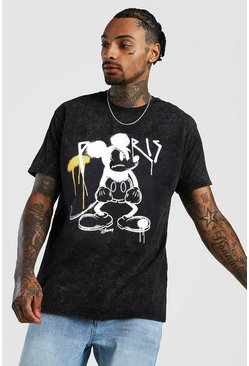 Black Disney Mickey Loose Fit Graffiti Acid Wash T-Shirt