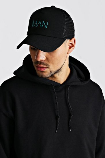 Black MAN Embroidery Truck Cap