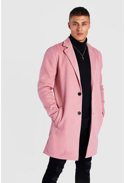 Pink Single Breasted Wool Mix Overcoat
