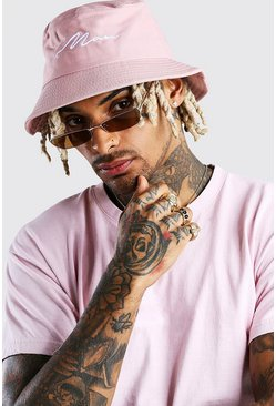 Mauve MAN Script Bucket Hat